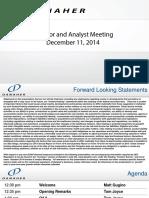 2014 Danaher Analyst Event Presentation