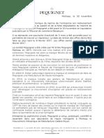 Communiqué de Pequignet sur la liquidation de la société d'horlogerie