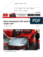 China Introduces 10% Extra Tax on 'Super Cars' - BBC News