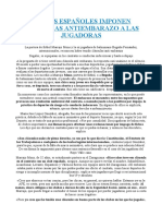 Clubes españoles imponen cláusulas antiembarazo a las jugadoras.