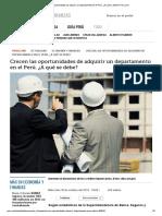 Crecen Las Oportunidades de Adquirir Un Departamento en El Perú