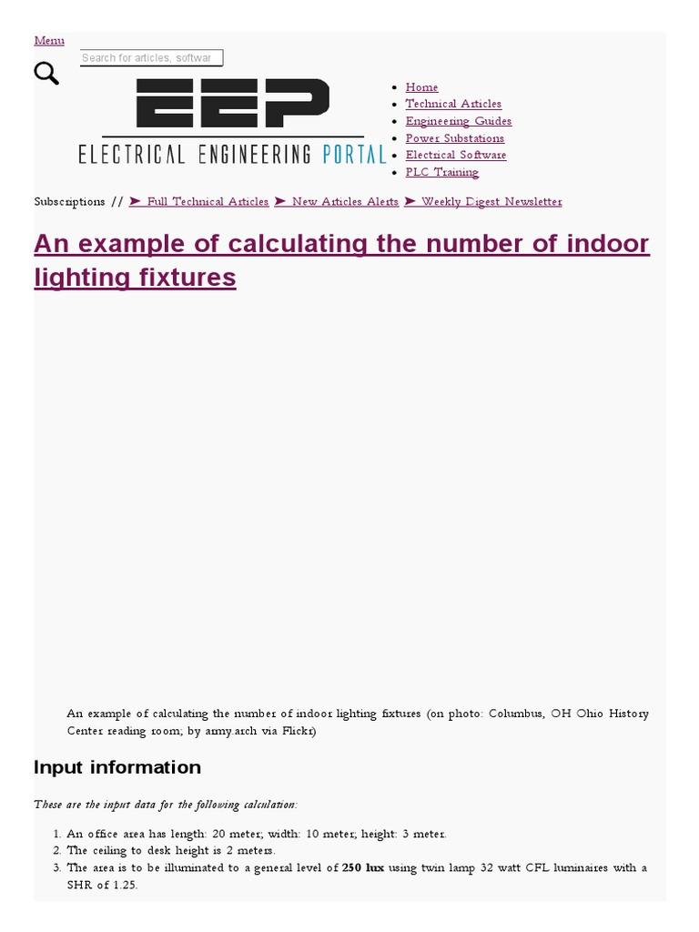 An example of calculating the number of indoor lighting fixtures eep lighting interior design