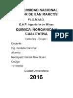 Informe Cationes IV Grupo