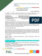 ECON F214 FIN F214-Mid Sem Exam Portions