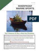 Riverfront Marine Sports December 2016 Newsletter