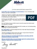 """Fundraising letter from Gov. Greg Abbott promising war on """"soulless abortion industry"""""""