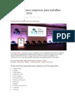As 100 Melhores Empresas Para Trabalhar Em Portugal 2016