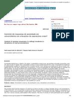 Revista Brasileira de Terapia Comportamental e Cognitiva - Controle de Respostas de Ansiedade Em Universitários Em Situações de Exposições Orais