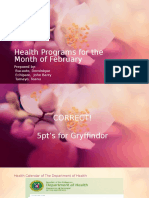 Health Programs for the Month of February