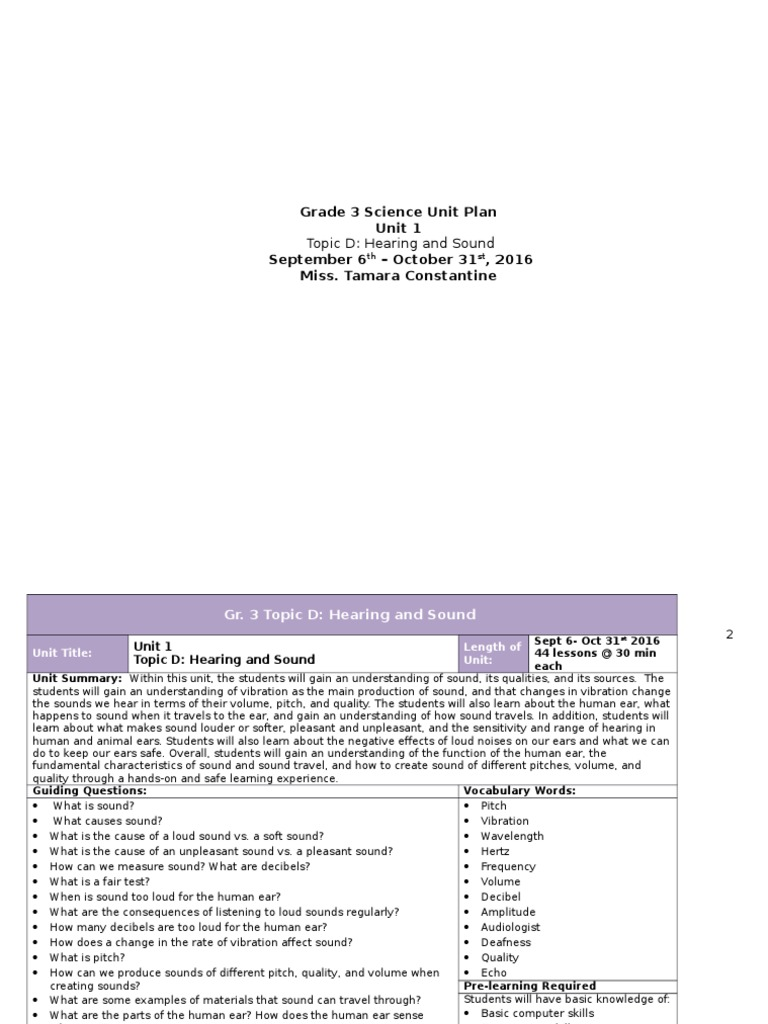 Workbooks hearing and sound grade 3 worksheets : grade 3 science topic d h s unit plan | Sound | Hearing Loss