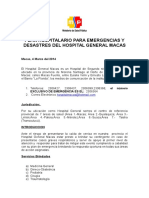 Plan Hospitalario de Emergencia Del Hospital General 2014 Macas