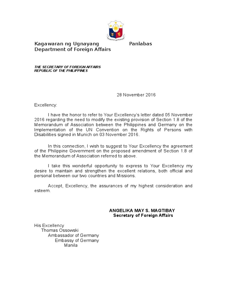Diplomatic letter sample stopboris Gallery