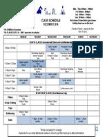 Dec 2016 Class Schedule
