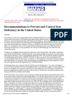 Recommendations to Prevent and Control Iron Deficiency in the United States