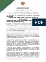 NOTA DE PRENSA N° 071 LEY DE MORATORIA DE TRÁNSGENICOS PROHÍBE EL INGRESO AL AMBIENTE DE OVM CON FINES DE CULTIVO O CRIANZA