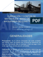 1.0 Cubicación y Costos de Materiales, Mano de Obra y Maquinaria
