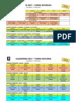 Calendário EBNESR 2017 turmas