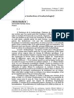 Histoire de La Traduction Et Traductologie