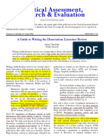 A Guide to Writing the Dissertation Literature Review 8-6-12