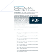 Ford Issues Two Safety Recalls in North America