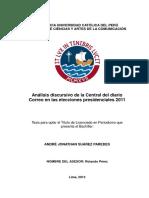 Análisis discursivo de la Central del diario Correo en las elecciones presidenciales 2011