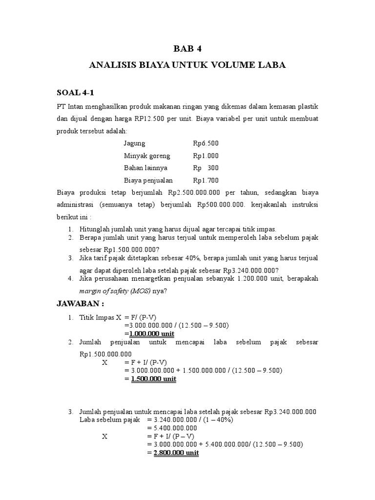 Praktik Akuntansi Manajemen Bab 4 6 Soal Dan Jawaban