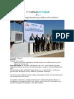 01.12.2016 Tribuna Noticias - RMV colocó la primera piedra de la empresa Mission Foods México