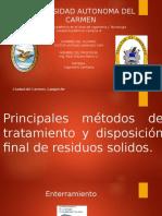 Principales métodos de tratamiento y disposición final de residuos solidos