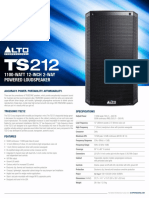 Alto Professional TS212 Spec Sheet