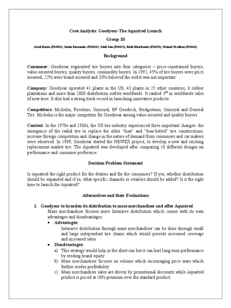 goodyear aquatred launch case study analysis
