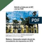 Venezuela Felicitó a Cuba Por El 60º Aniversario de Las FAR