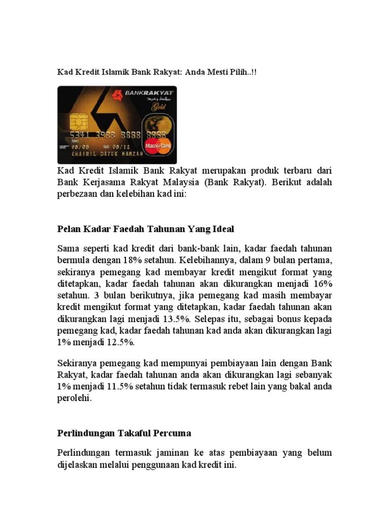 An Kad Kredit Islamik Bank Rakyat