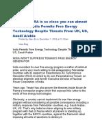 India Permits Free Energy Tech.period