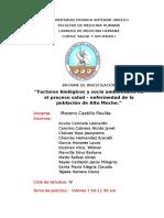 Factores biologicos y sociales en el proceso salud enfermedad de la población de Alto Moche