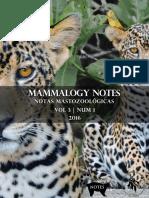 Cambios recientes a la lista de los mamíferos de Colombia