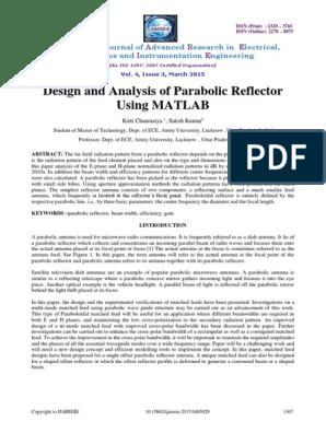 Design and Analysis of Parabolic Reflector Using MATLAB