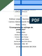 Cronograma de entrega de productos