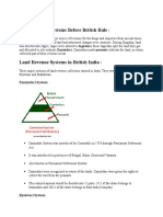 Land Revenue Systems Before British Rule