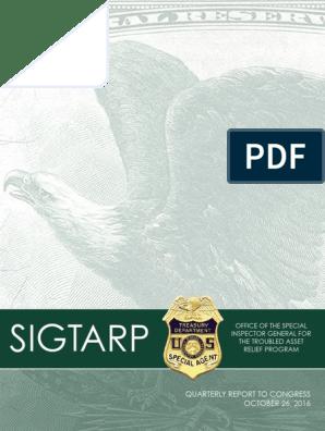 SIG-TARP October 26 2016 Report to Congress | Troubled Asset