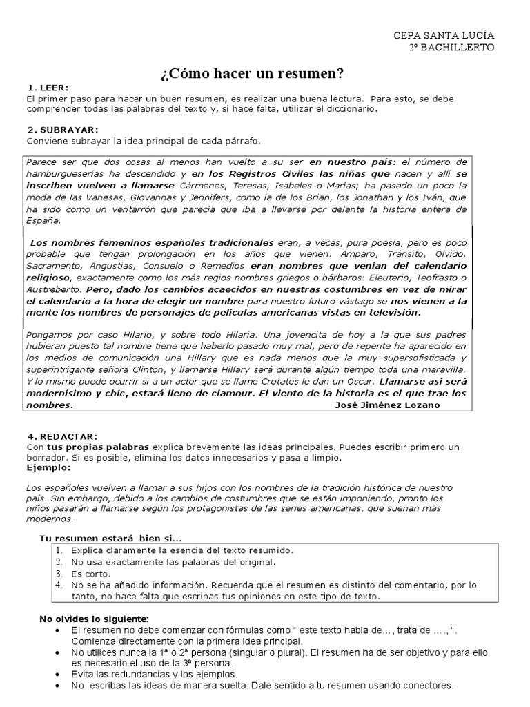 Encantador Redactar Un Resumen Componente - Ejemplo De Colección De ...