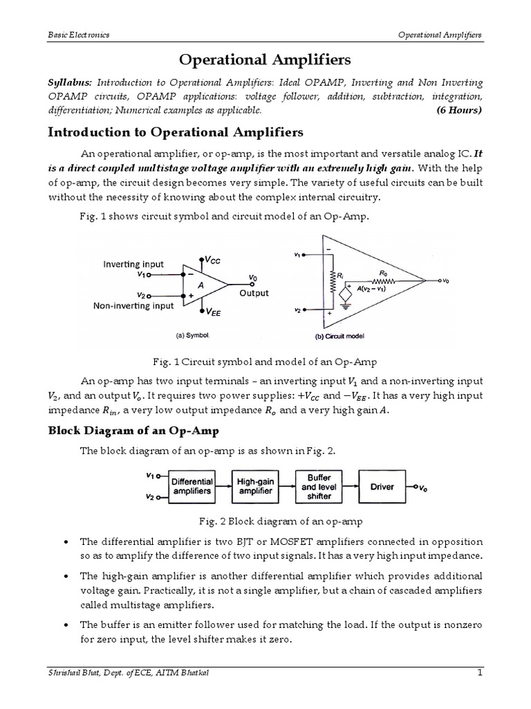 Basic Electronics Introduction To Operational Amplifiers Noninverting Amplifier Analog Integrated Circuits