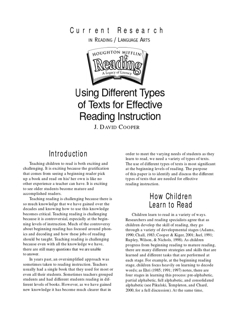 Using Different Types Of Text For Effective Reading Instruction