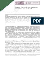 Nemo-Pekelman, C. How Did the Authors of the Breviarum Alaricarum Work. the Example of the Laws of Jews