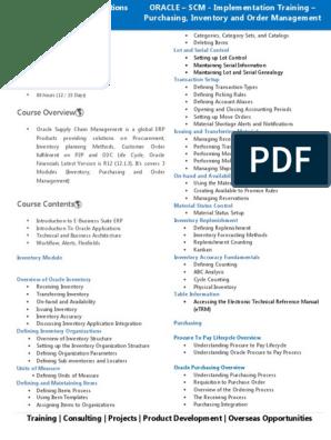 R12 Oracle Scm Course Content Supply Chain Management Enterprise Resource Planning