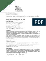 RESISTENCIA DE UN CONDUCTOR COMO FUNCION DE SU TEMPERATURA