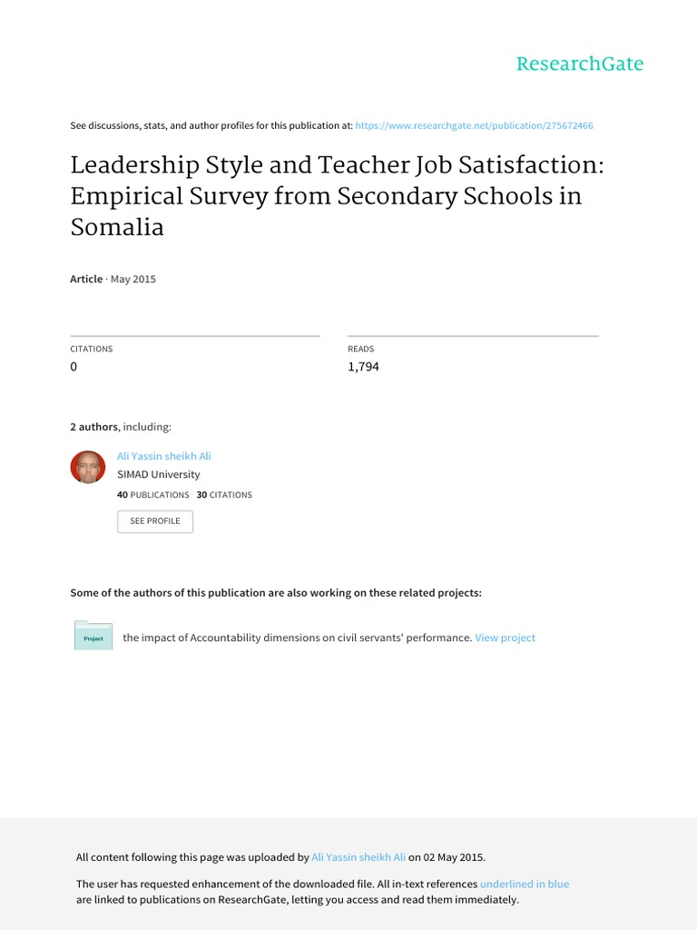 College dissertation in job leadership lecturer principal satisfaction style