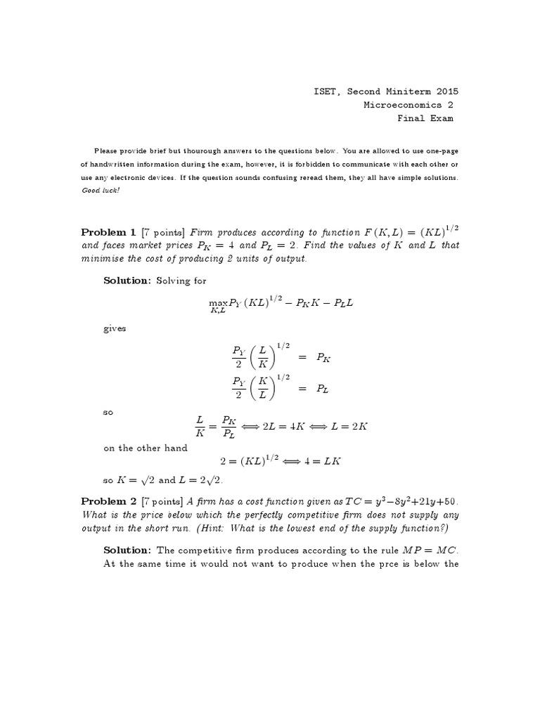 Exam Answers   Labour Economics   Production Function