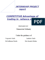 Competitive Advantage of Reliance Money Summer Internship Project Report
