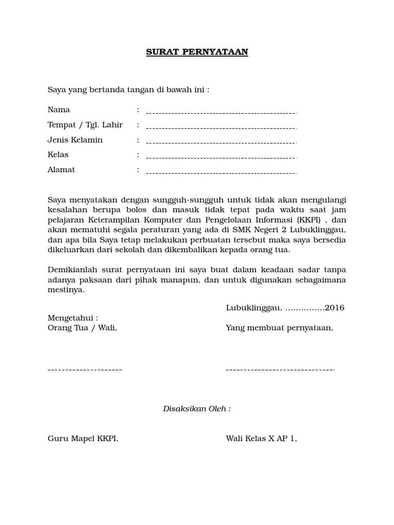 5 contoh surat pernyataan tidak melakukan pelanggaran siswa file word altavistaventures Image collections
