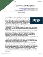 Manifeste Pour Un Parti Du Rythme, Par Henri Meschonnic (1999)